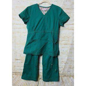 KOI Scrub Medical Set KATELYN Wrap Top LINDSEY Cargo Pants HUNTER GREEN Size L